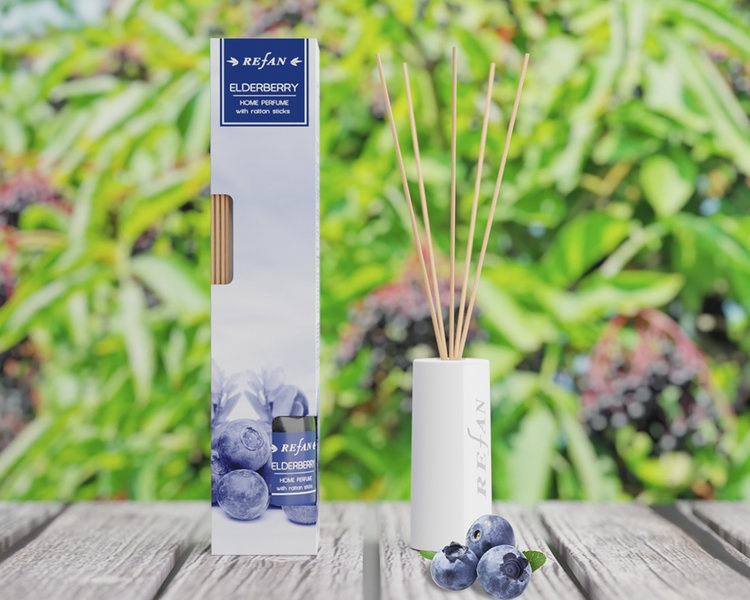 Home perfume elderberry with rattan sticks