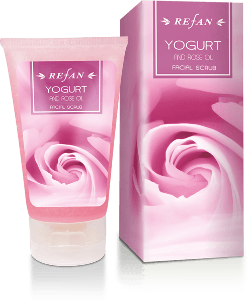 Facial scrub yogurt and rose oil