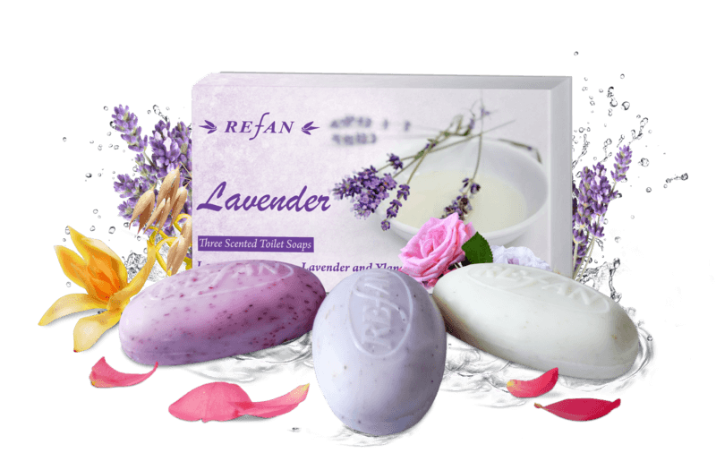 Three scented tolilet soaps Lavender