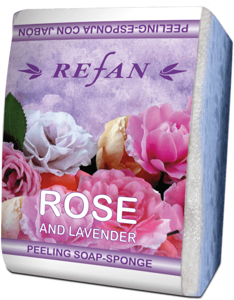 Peeling soap-sponge - Lavender and Rose