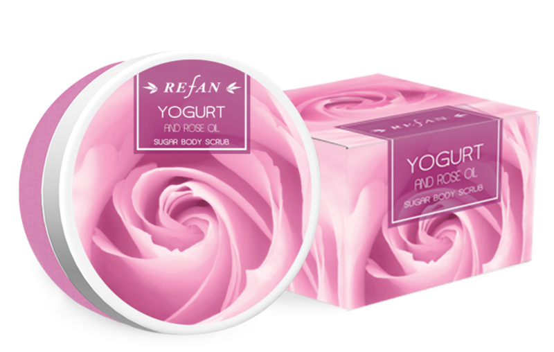 Sugar body scrub Yogurt and rose oil