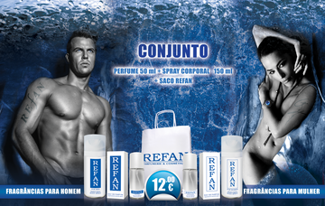 CONJUNTO perfume 50 ml + spray corporal  150 ml + saco refan